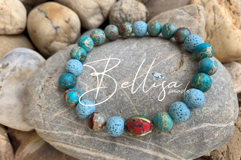 Modrá láva + morský achát + Tibet